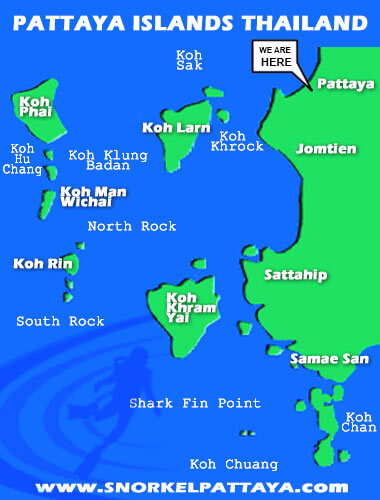 Pattaya Islands Map - Best Snorkeling In Pattaya Thailand
